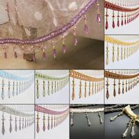 12 Yards/Lot Curtain Tassel Sewing Trimmings Crystal Beaded Fringe Upholstery