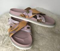 Ted Baker Cabana Crossed Leather Slider Light Pink Floral UK 6 EU 40 New Sample