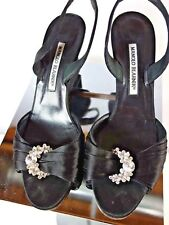 Manolo Blahnik BLACK SATIN Slingback Wedge W/ RHINESTONE BUCKLE Size 38  8