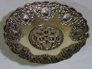 Antique Sterling Silver Repousse Dish Footed Bowl Flowers