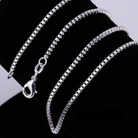 Lot 5Pcs Sterling 925 Silver BOX Chain Necklace All Sizes Stamped 925 Free Ship