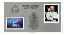 Sellos Hojita Bloque Argentina 1987 Visita de su Santidad Juan Pablo II Papa
