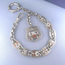Victorian Pocket Watch Chain / Fob / Silver Plated