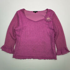 Cynthia Max Womens Blouse Pink Open Knit Flower Lined Long Sleeve Shirt Large