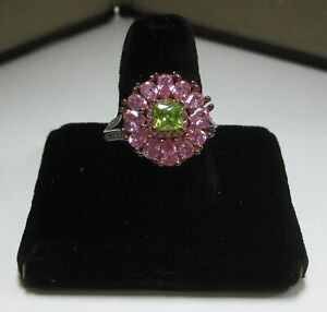 Sterling Silver (.925) Ring with Peridot, Pink Zirconia's and Cubic Zirconia's