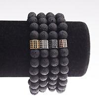8MM Men's Natural Bracelets CZ Bead Lava Beaded Stretch Healing Lucky Bracelets