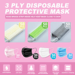 50Pcs Disposable Face Mask Non-Medical Surgical 3-Ply Earloop Face Cover