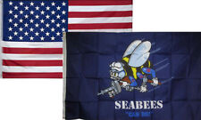 3x5 Wholesale Combo USA American & Navy Seabees Can Do (FI) Flag 3'x5' 2 Pack