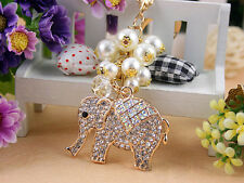 KC030 Elephant Beads Cute Rhinestone Crystal Charm Pendant Key Bag Chain Gift