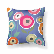 Blue floral designer cushion cover 18x18 inches, Poplin with consealed zipper