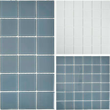 Glasmosaik Mosaikfliesen Küchenrückwand Wandverblender Bad Superweiß Grau