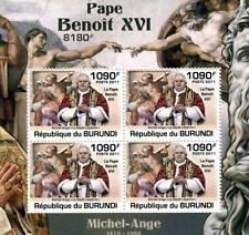 Pope BENEDICT XVI & Michelangelo Art Stamp Sheet #2 of 5 (2011 Burundi)
