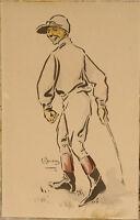 Lithographie ancienne vers 1900 Jockey Cheval équitation Courses