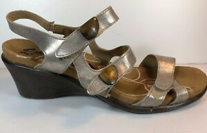 Romika Shoes Germany cork bed comfort metallic leather wedge sole 3 strap EU 42