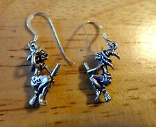 Sterling Silver 3D 22x16mm Halloween Witch on a Broom Hand holding hat Earrings