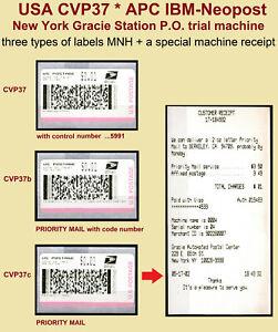 US stamps 2002 * three CVP37 stamps MNH + special receipt * IBM Neopost CVP ATM