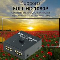 1 IN 2 OUT HD 4K Bi Richtung HDMI Schalter Umschalter Splitter Hub HDCP 3D RF
