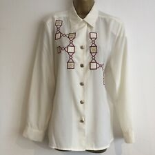 Ladies Blouse Top 12 Cream Rust Gold JACQUES VERT  Long Sleeve Vintage Smart