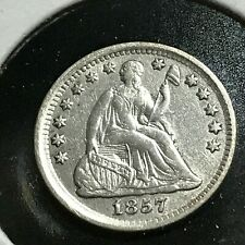 1857 Silver Seated Half Dime High Grade Coin