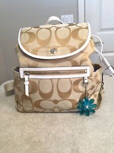 """COACH Daisy Gold On Beige W/White Accents Signature Backpack. 12""""x12""""x5"""". NEW."""