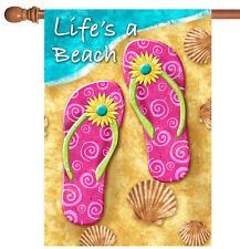 New Toland - Life's a Beach - Colorful Summer Sandal Flip Flop House Flag