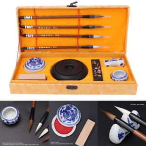 Chinese Traditional Calligraphy Set Four Treasures Study Brush Pen/Ink/Inkstone