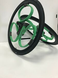 """24"""" GREEN Wheelchair Wheels with suspension: Loopwheels  - NEW - £240 OFF RRP!"""