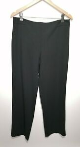 Hobbs Uk 12 Black Wide Straight Leg Trousers Formal Office Workwear