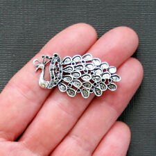 BULK 20 Large Peacock Charms Antique Silver Tone - SC1510