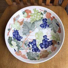 La Primula Italy 10 inch Serving Bowl Grapes Vines Italian Pasta Centerpiece