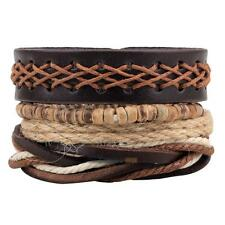 4X Men Women PU Leather Braided Cuff Bangle Punk Wristband Bracelet Wooden Beads