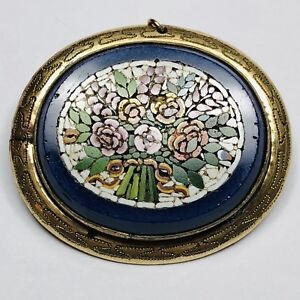 Fine Antique Victorian Yellow Metal Floral Micro Mosaic Brooch / Pin