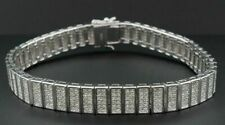 "Statement Bracelet Mens Sterling Silver 8"" Round Cut Diamond 14k White Gold Over"
