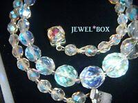 VINTAGE 1950s Aurora Borealis Crystal Glass BEAD NECKLACE w AB RHINESTONE CLASP
