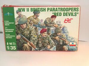RARE ESCI 1/35 WWII BRITISH PARAS  X 14 FULL MINT SET OF FIGS BOXED SET 1983