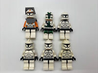 LEGO Clone Trooper Lot of 6 Authentic Minifigures- Commander Cody Gree Minor Use