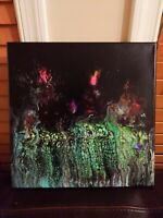 "Fluid abstract acrylic painting; pour on canvas  12""x12"" green pink purple black"