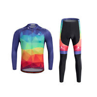 Men's Winter Cycling Kit Long Sleeve Cycle Jersey & Padded Bike Long Pants Set