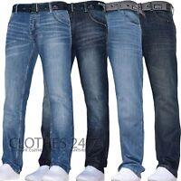New Mens Crosshatch Straight Leg Dark Blue Jeans Pants All Waist & Sizes  C 1D