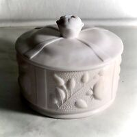 Jeannette Shell Pink Milk Glass Rose Powder Jar With Lid