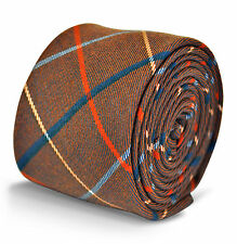 Frederick Thomas mens brown with red & blue check wool tweed tie FT3124