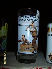 Saturday Evening Post Norman Rockwell Drink Glass Gramps At The Plate Baseball