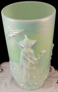 Fenton Art Glass Sea Green Lustre Mandarin Vase Part Of Historic Collection 1998