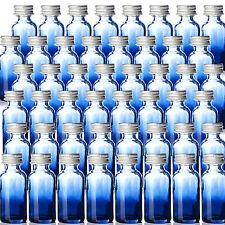 1oz Blue Glass Boston Round Bottles. Qty 48 w/ Silver Aluminum Caps. Shaded Blue