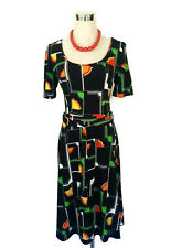LEONA EDMISTON Dress - Deco Geometric Print Black Orange Green Vintage - XS/6/8