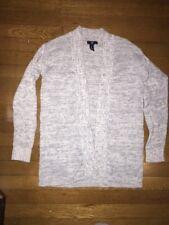 ~ Gap gray white Knit Duster Cardigan Long Open Sweater Small women