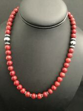 Native American Sterling Silver Apple  Coral Bead Necklace 18 Inch