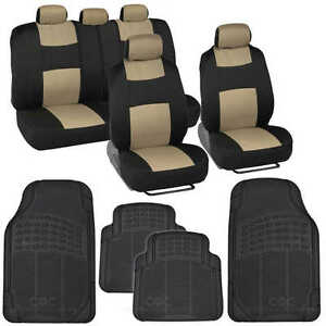 13 Pc Car Seat Covers Set Black & Beige with Black Front and Rear Rubber Mats