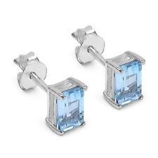 Neu Ohrstecker 925 Silber Handgefertigt Ohrringe 1,36Ct  Blau Topas Topaz #36