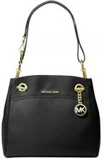 NWT Michael Kors Black Jet Set Chain Legacy Handbag. Gold Hardware. MK Logo.